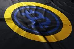 Illustration för Bitcoin crypto guld- BTG flaggatorkduk arkivfoton