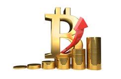 Illustration för Bitcoin hög förhöjning 3D Stock Illustrationer