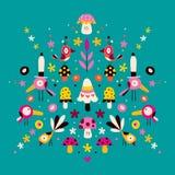 Illustration för blomma-, fågel- och champinjonnaturvektor Royaltyfria Foton