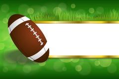 Illustration för boll för amerikansk fotboll för bakgrundsabstrakt begreppgräsplan Arkivbild