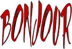 Illustration för Bonjour texttecken Arkivfoton