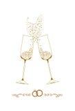 Illustration för bröllopchampagneexponeringsglas Arkivbilder