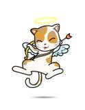 Illustration för Cat Cupid vektortecknad film Royaltyfri Foto