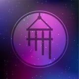 Illustration för Chime för vektorbambuvind på en kosmisk bakgrund Royaltyfri Fotografi