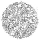 Illustration för cirkel för allhelgonaafton för klotter för tecknad filmvektor hand dragen Arkivfoton