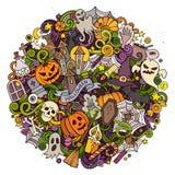 Illustration för cirkel för allhelgonaafton för klotter för tecknad filmvektor hand dragen Royaltyfri Bild