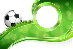 Illustration för cirkel för ram för boll för fotboll för fotboll för grönt gräs för bakgrund abstrakt Royaltyfri Foto