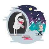 Illustration för Cosmonauticsdagvektor Pojke med lightsaber och monster royaltyfri illustrationer