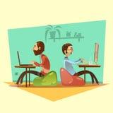 Illustration för Coworking tecknad filmuppsättning stock illustrationer