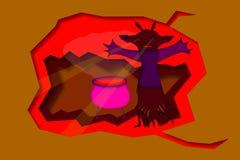 illustration för 3d halloween med monstret och kokkärlet Arkivbild