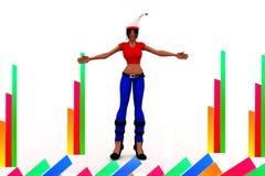 illustration för 3d X Mas Women Arkivbild