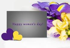 Illustration för dag för kvinna` s, kort Arkivbild