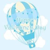 Illustration för dag för valentin` s med den gulliga björnen i blå ballong för varm luft på himmelbakgrund Arkivbild