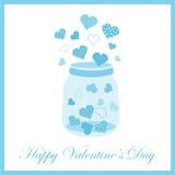 Illustration för dag för valentin` s med den gulliga blåa flaskan av förälskelse på blåttram Arkivbilder