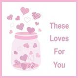 Illustration för dag för valentin` s med den gulliga rosa flaskan av förälskelse på rosa färgram Fotografering för Bildbyråer