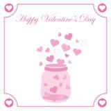 Illustration för dag för valentin` s med den gulliga rosa flaskan av förälskelse på rosa hjärtaram Royaltyfri Foto