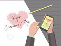 Illustration för dag för valentin` s med händer, telefon, papper på tabellen vektor illustrationer