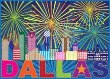 Illustration för Dallas Skyline Lone Star Fireworks färgvektor Royaltyfri Bild