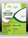 Illustration för design för mall för golfturneringreklamblad Royaltyfri Bild