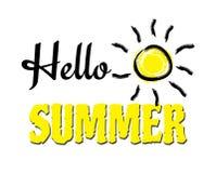 Illustration för design för Hello sommartext Royaltyfria Foton