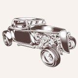 Illustration f?r design f?r ratrodvector f?r motor f?r tshirt f?r logo f?r vektor f?r tappning f?r HotRod bil klassisk royaltyfri illustrationer