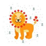Illustration för djur för djungel för katt för lycklig för tecknad film för lejonmaskotvektor gullig lös safari för tecken däggdj Arkivfoton