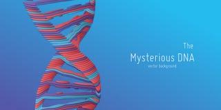 Illustration för dubbel spiral för DNA för vektor abstrakt som papperssnitt Mystisk källa av livbakgrund Genom futuristisk bild royaltyfri illustrationer