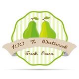 Illustration för emblem för eco för vektor för emblem för beståndsdel för etikett för affär för fruktsaft för tappningpäronstrikt Arkivfoto