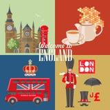 Illustration för England loppvektor med tekannan Semester i Förenade kungariket Storbritannien bakgrund Resa till UK royaltyfri illustrationer
