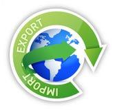 Illustration för export- och importjordklotcirkulering stock illustrationer