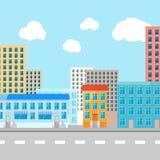 Illustration för färgvektorlägenhet av staden stock illustrationer