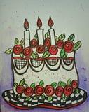 Illustration för födelsedagkaka Arkivbild