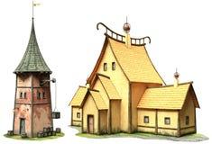 Illustration för fantasibyggnader 3D Arkivbild