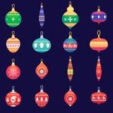 Illustration för fastställd vektor för bollar för xmas för nytt år för julgranleksaker färgrik i plan stil Arkivfoto