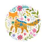 Illustration för fastställd vektor för Folk färgrik med den härliga räven och blommor Skandinavisk stil Royaltyfri Foto