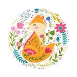 Illustration för fastställd vektor för Folk färgrik med den härliga räven och blommor Skandinavisk stil Arkivbilder