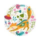 Illustration för fastställd vektor för Folk färgrik med den härliga räven och blommor Skandinavisk stil Royaltyfri Fotografi