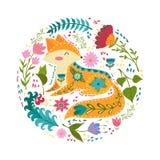Illustration för fastställd vektor för Folk färgrik med den härliga räven och blommor Skandinavisk stil Royaltyfria Bilder