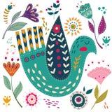 Illustration för fastställd vektor för konst färgrik med härliga fåglar och blommor Konstaffisch för garnering din inre och för stock illustrationer