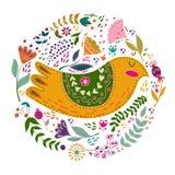 Illustration för fastställd vektor för konst färgrik med härliga fåglar och blommor Konstaffisch för garnering din inre och för vektor illustrationer