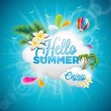 Illustration för ferie för vektorHello sommar typografisk med ballongen för tropiska växter, för blomma och för varm luft på blå  stock illustrationer