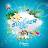 Illustration för ferie för vektorHello sommar typografisk med ballongen för tropiska växter, för blomma och för varm luft på blå  royaltyfri illustrationer