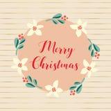 Illustration för ferie för glad jul för vektor för hand utdragen Mistelblommakrans För affisch blogg, baner, julhälsning vektor illustrationer