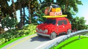 Illustration för ferier 3d för leksakbil gående royaltyfri illustrationer