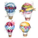 Illustration för flygtransport för fluga för bakgrund för ballong för varm luft royaltyfri illustrationer