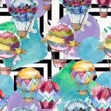 Illustration för flygtransport för fluga för bakgrund för ballong för varm luft Seamless bakgrund mönstrar vektor illustrationer