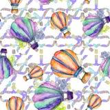Illustration för flygtransport för fluga för bakgrund för ballong för varm luft Seamless bakgrund mönstrar Arkivfoto