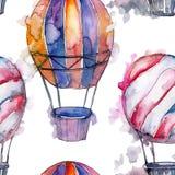 Illustration för flygtransport för fluga för bakgrund för ballong för varm luft Seamless bakgrund mönstrar Royaltyfria Bilder