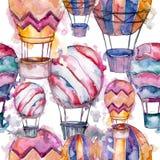 Illustration för flygtransport för fluga för bakgrund för ballong för varm luft Seamless bakgrund mönstrar Royaltyfri Bild