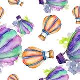 Illustration för flygtransport för fluga för bakgrund för ballong för varm luft Seamless bakgrund mönstrar Royaltyfri Foto